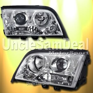 94-00 MERCEDES BENZ W202 C-CLASS SEDAN EURO CLEAR PROJECTOR HEADLIGHTS CHROME
