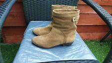 LADIES TAN  REAL SUEDE ANKLE BOOTS BY NEW LOOK SIZE 6.