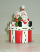 Vintage LEFTON Santa and Mrs. Claus Lidded Candy Dish Stripes Made in Japan