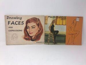 VTG Pitman Drawing Faces Figure Drawing Book Lot 1956 1958 Good Shape