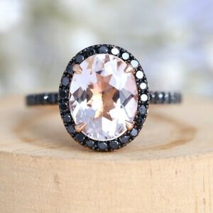 3 Ct Oval Cut Morganite Diamond Halo Engagement Ring Solid 14K Rose Gold Finish.