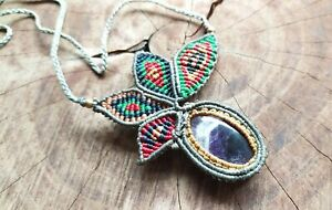 Macrame Necklace Jewelry Cabochon Amethyst Stone Handmade Boho Brass Beads