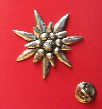 English Pewter Large Edelweiss  Pin Badge Tie Pin / Lapel Badge (XTSBPC1)