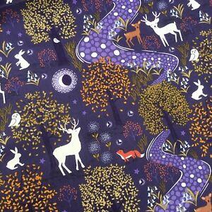 Navy blue deer stag woods Lewis & Irene Quilt Fabric 100% Cotton X HALF METRE