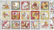 Chicken Chique by Loralie Cotton Quilting Fabric Panel