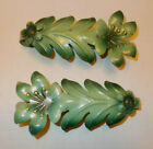 2 Vintage Antique Green Floral Curtain Tie Back Holders Tole Metal Shabby Chic