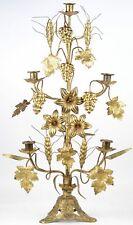 Antique XL church brass Candle holder candlestick 5 arms floral decor