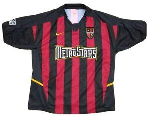 Vtg New York MetroStars MLS Nike Red Black Striped Soccer Jersey Adult S 90s