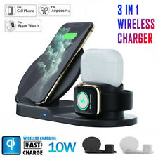 3 in1 Qi Wireless Fast Charger Dock Holder For iPhone X XS Apple Watch EarPhone