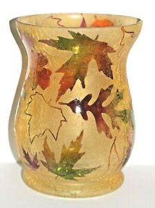 YANKEE CANDLE Frosted Leaves Crackle Glass Hurricane Jar Holder, New in the Box