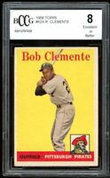 1958 Topps #52A Roberto Clemente Card BGS BCCG 8 Excellent+