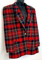 Vtg Evan Picone Womens Blazer Red Tartan Plaid Worsted Wool Jacket One Button 10