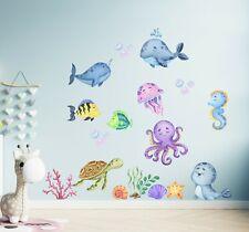 Underwater Friends Cute Sea Animals Wall Decal Nursery Décor Kids Sticker Girls