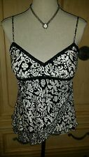 WHITE HOUSE BLACK MARKET LAYERED ASYMMETRICAL PATTERNED BLK WHITE CAMISOLE TOP S