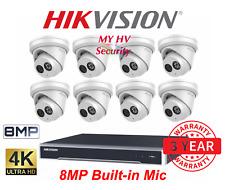 Hikvision HiLook 4,6,8,12,16 IPC-T280H-MU 8MP Built-in Mic Audio Camera NVR Kit