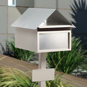 Ex LARGE A4 Letterbox + Post CREAM / STAINLESS 'Valley' Mailbox, Post, Key Lock