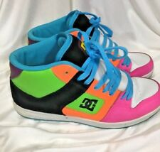 DC Skateboard Shoes Womens Rebound High Top Size 9 Neon Orange Blue Green Pink