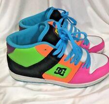 DC Skateboard Shoes Womens Rebound High Top Size 9 Neon Orange Blue Green Pink