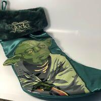 "YODA Star Wars Christmas Stocking 17"" Faux Fur Trim Satiny Kurt S. Adler Green"