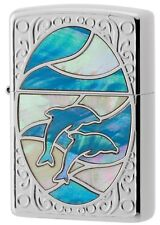 New Authentic Zippo Shell Dolphin White x Blue Oil Lighter 1201S602