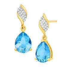4 1/2 ct Natural Swiss Blue Topaz Drop Earrings w/ Diamonds in 10k Yellow Gold