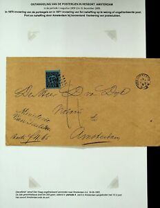 NETHERLANDS 1883 10c PORT ON COVER FROM S-GRAVENHAGE TO AMSTERDAM
