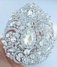 "Bouquet Teardrop Brooch Pin 04045C1 Gorgeous 4.92"" Clear Austrian Crystal Bridal"