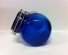 """VINTAGE COBALT BLUE 6 1/2"""" GLASS CANISTER"""