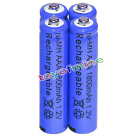 4x AAA Rechargeable Battery Bulk Nickel Hydride NI-MH 1800mAh 1.2V Blue