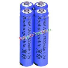 4x AAA battery batteries Bulk Nickel Hydride Rechargeable NI-MH 1800mAh 1.2V Blu