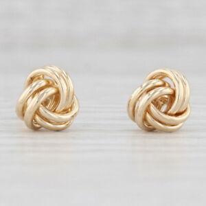 Love Knot Earrings 14k Yellow Gold Pierced Studs