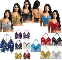Womens Sequin Halter Salsa Belly Dance Bra Tops Party Club Wear Costume Crop Top