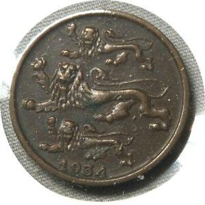 elf Estonia 1st Republic 2 Senti 1934  Lion  Leopard