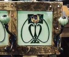 Handmade Art Nouveau Tile Coat Hooks Reclaimed Wood / Copper