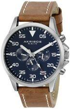 (NEW) Akribos XXIV Men's AK773SSBU Analog Display Swiss Quartz Brown Watch