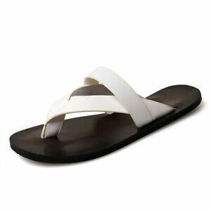 Summer Men's Flip Flops Outdoor Faux Leather Sandals Strap Shoes Beach Slippers