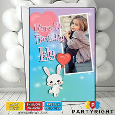 Personalised Photo Birthday Card Any Age • A5 Glossy Greetings Card Bunny