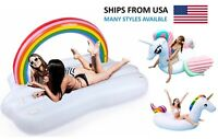 Giant Rainbow Unicorn Float Inflatable Raft Bed lounge Swimming Pool Party Beach