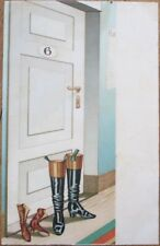 Risque 1903 Postcard: Man & Woman's Boots Outside Hotel Room Door - Color Litho