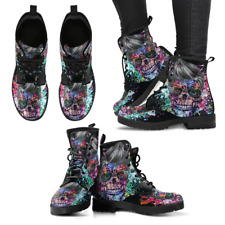 Skull Black Colorful Handcrafted Women's Vegan-Friendly Leather Boots