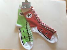 1 PAIR LADIES MISMATCHED SNEAKER NOVELTY SOCKS * HOLIDAY RED/GREEN