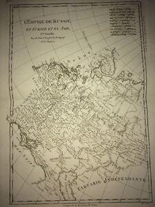 RUSSIE : Carte Ancienne de L'Empire en Europe Et Asie. Trois Feuilles XVIIIème.