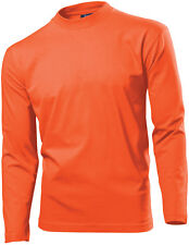 Hanes Mens Mans ORANGE Long Sleeve Cotton T-Shirt Tshirt Size Small