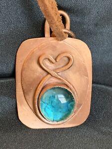 "Vintage Artisan Copper Heart Pendant With Blue Glass Cabochon 2.5"" x 1.5"""