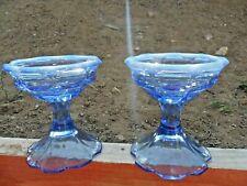 "PR RARE COLOR BLUE W/OPALTRIM FENTON GLASS ""THUMBPRINT""CANDLEHOLDERS 5""TALL"