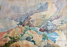 RARE: Early Modernist WC of Catalina Island, CA by Armand Manago aka Guerin 1935
