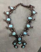 VINTAGE NAVAJO STERLING SILVER TURQUOISE SQUASH BLOSSOM NECKLACE OLD