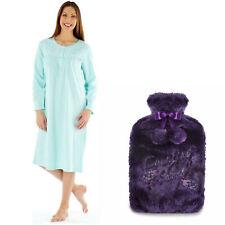 22-24 Lady Olga Embroidered Fleece Nightdress Blue + FREE  Hot Water Bottle