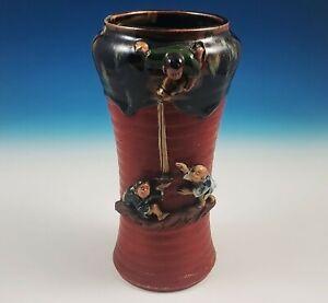 Antique Japanese Sumida Gawa Pottery Vase Boy Pouring Water Inoue Ryosai Signed