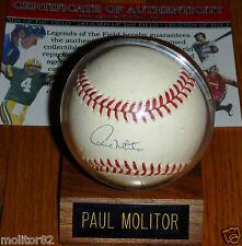 Milwaukee Brewers PAUL MOLITOR Autographed Official AMERICAN LEAGUE BASEBALL COA